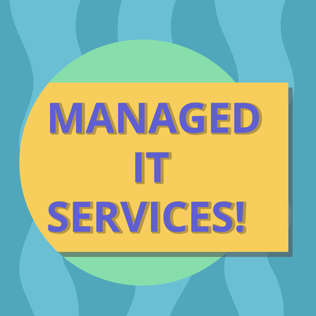 Conceptual hand writing showing Managed It Services. Business photo text assumes responsibility providing defined set activities Rectangular Color Shape with Shadow Coming Out from a Circle 写真素材
