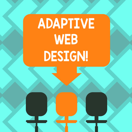 Text sign showing Adaptive Web Design. Conceptual photo multiple versions of a webpage to fit the user s is device Blank Space Color Arrow Pointing to One of the Three Swivel Chairs photo