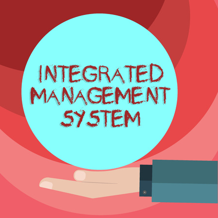 Text sign showing Integrated Management System. Conceptual photo combines all components of a business into one Hu analysis Hand in Suit Offering Blank Solid Color Circle for Logo Posters Stock Photo