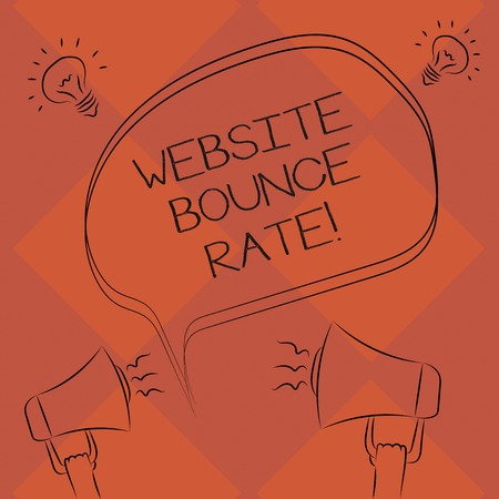 Handwriting text Website Bounce Rate. Concept meaning Internet marketing term used in web traffic analysis Freehand Outline Sketch of Blank Speech Bubble Megaphone Sound Idea Icon 스톡 콘텐츠