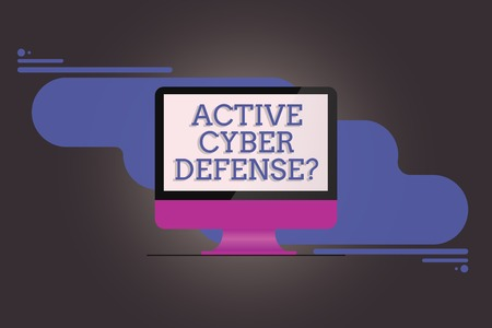 Handwriting text writing Active Cyber Defensequestion. Concept meaning acting in anticipation to oppose an attack Mounted Computer Monitor Blank Reflected Screen on Abstract Background
