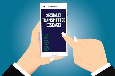 Text sign showing Sexually Transmitted Disease. Conceptual photo Diseases spread by sexual intercourse Hu analysis Hands Holding Pointing Touching Smartphone Blank Color Screen