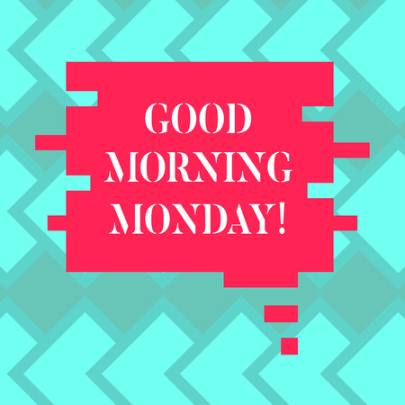 Text sign showing Good Morning Monday. Conceptual photo greeting someone in start of day week Start Weekend Blank Color Speech Bubble in Puzzle Piece Shape photo for Presentation Ads 写真素材