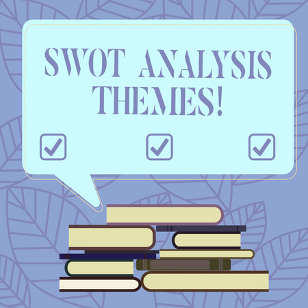 Text sign showing Swot Analysis Themes. Conceptual photo Subject matter to undergo comprehensive analysis Uneven Pile of Hardbound Books and Blank Rectangular Color Speech Bubble