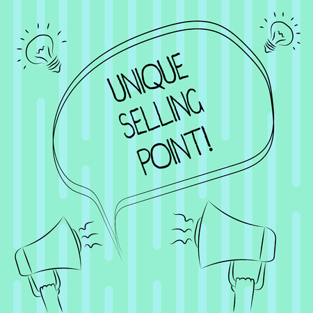 L'écriture de texte Word Point de vente unique. Concept d'entreprise pour la caractéristique du produit qui le rend différent des autres marques Esquisse à main levée de l'Idée de son mégaphone à bulle vierge Icône