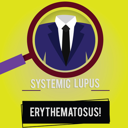 Handwriting text Systemic Lupus Erythematosus. Concept meaning immune system of the body attack healthy tissue Magnifying Glass photo Enlarging Inspecting a Tuxedo and Label Tag Below Stok Fotoğraf