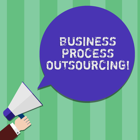 Writing note showing Business Process Outsourcing. Business photo showcasing Contracting work to external service provider Hu analysis Hand Holding Megaphone Color Speech Bubble Banque d'images