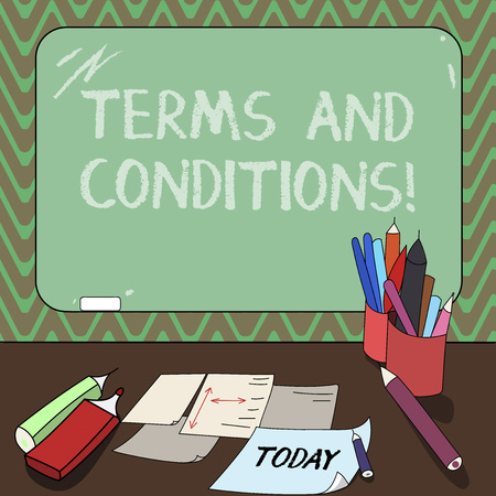 Conceptual hand writing showing Terms And Conditions. Business photo showcasing detail the rules that apply to bear a certain contract Mounted Blackboard with Chalk Writing Tools Sheets on Desk Banco de Imagens