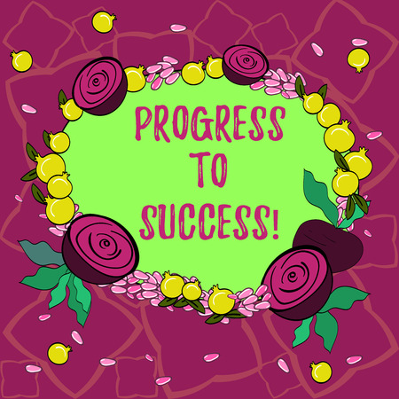 Text sign showing Progress To Success. Conceptual photo achievement of desired visions and planned goals Floral Wreath made of Tiny Seeds Small Glossy Pomegranate and Cut Beet Stock fotó