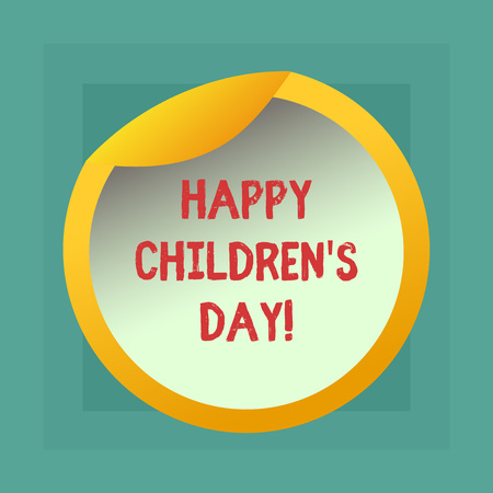 Conceptual hand writing showing Happy Children S Day. Business photo showcasing fixed date made to celebrate children and having fun Bottle Packaging Lid Carton Container Easy to Open Cover