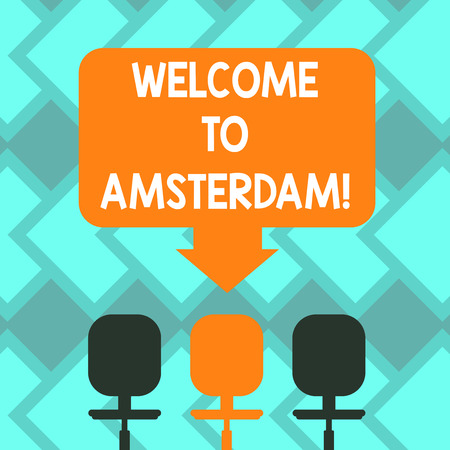 Text sign showing Welcome To Amsterdam. Conceptual photo Greeting someone visits the capital city of Netherlands Blank Space Color Arrow Pointing to One of the Three Swivel Chairs photo