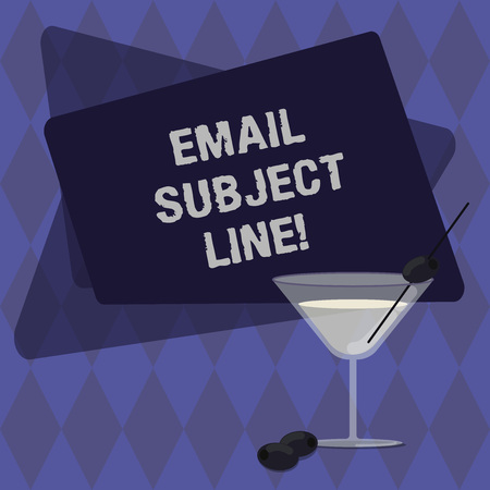 Conceptual hand writing showing Email Subject Line. Business photo text introduction that identifies email or message intent Filled Cocktail Wine Glass with Olive on the Rim Text Space