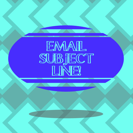 Text sign showing Email Subject Line. Conceptual photo introduction that identifies email or message intent Blank Color Oval Shape with Horizontal Stripe Floating and Shadow photo