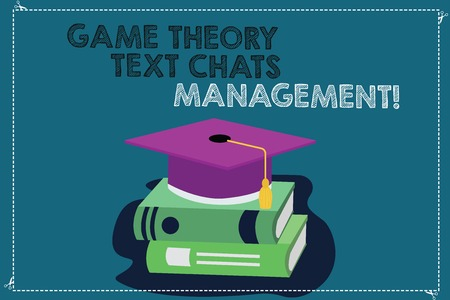 Handwriting text writing Game Theory Social Media Management. Concept meaning Gaming innovation marketing strategies Color Graduation Hat with Tassel 3D Academic cap photo Resting on Books