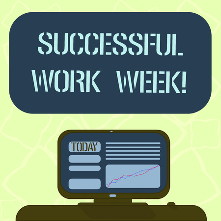 Handwriting text writing Successful Work Week. Concept meaning productive and satisfying working days in a week Mounted Computer Screen with Line Graph on Desk Blank Color Text Box
