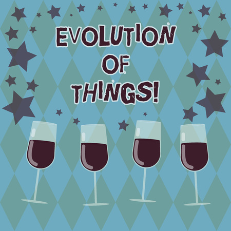Word writing text Evolution Of Things. Business concept for process gradual change takes place over analysisy generations Filled Cocktail Wine Glasses with Scattered Stars as Confetti Stemware Stock Photo