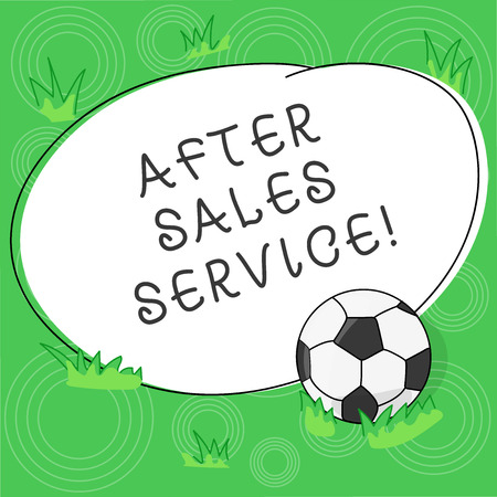 Writing note showing After Sales Service. Business photo showcasing support provided after merchandise have been sold Soccer Ball on the Grass and Blank Outlined Round Color Shape photo 版權商用圖片