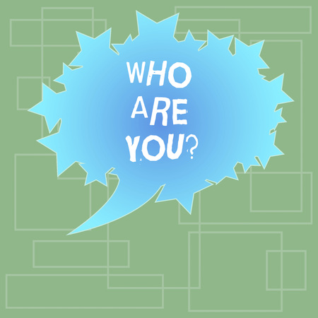 Text sign showing Who Are Youquestion. Conceptual photo refer to demonstrating showing being spoken or written to Blank Oval Color Speech Bubble with Stars as Outline photo Text Space