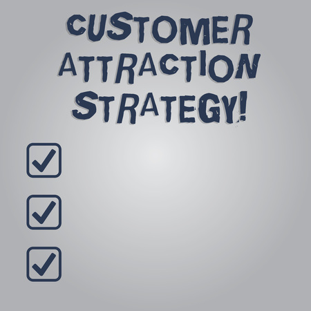 Writing note showing Customer Attraction Strategy. Business photo showcasing encourage customers to buy your brand Blank Color Rectangular Shape with Round Light Beam Glowing in Center Imagens