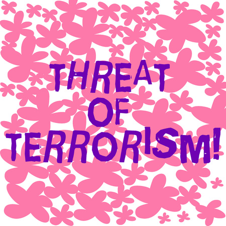 Text sign showing Threat Of Terrorism. Conceptual photo unlawful use violence and intimidation against civilians Freehand Drawn and Painted Simple Flower in Seamless Repeat Pattern photo