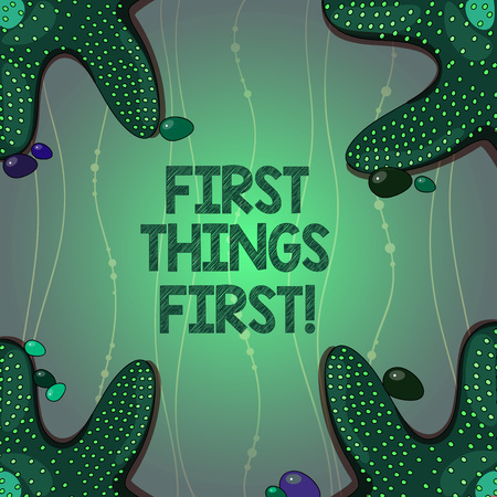 Writing note showing First Things First. Business photo showcasing important matters should dealt with before other things Starfish on Four Corners with Pebbles for Poster Ads Cards Imagens