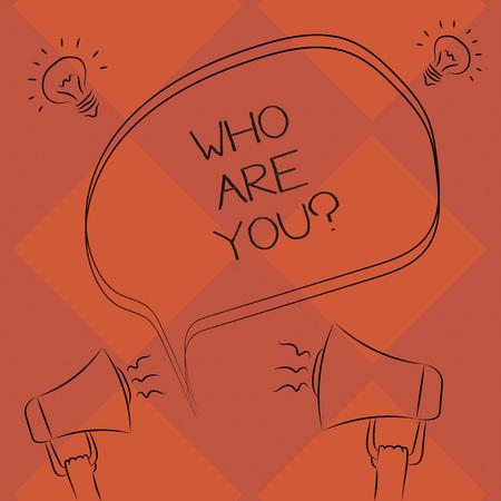 Escritura de texto ¿Quién es su pregunta? Concepto Significado se refiere a demostrar mostrando ser hablado o escrito en el esquema a mano alzada del icono de la Idea de sonido de megáfono de burbujas de discurso en blanco Foto de archivo