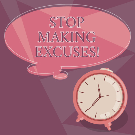 Word writing text Stop Making Excuses. Business concept for do not explanation for something that went wrong Blank Color Thought Speech Bubble with Outline and Alarm Clock photo