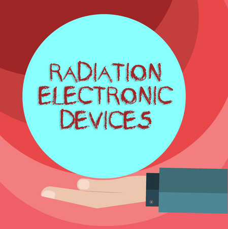 Text sign showing Radiation Electronic Devices. Conceptual photo radio frequency emitted by electronic devices Hu analysis Hand in Suit Offering Blank Solid Color Circle for Logo Posters Stockfoto