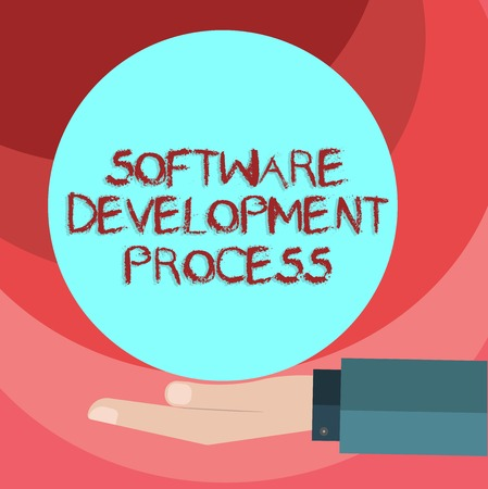 Text sign showing Software Development Process. Conceptual photo Process of developing a software product Hu analysis Hand in Suit Offering Blank Solid Color Circle for Logo Posters 免版税图像