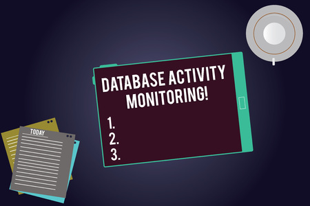 Writing note showing Database Activity Monitoring. Business photo showcasing the observation of actions in a database Tablet Screen Cup Saucer and Filler Sheets on Color Background Imagens - 116260580