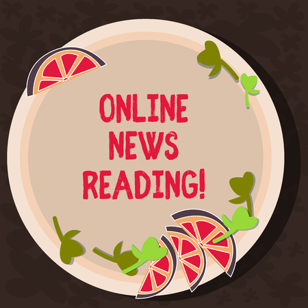 Text sign showing Online News Reading. Conceptual photo using internet to know current events over time Cutouts of Sliced Lime Wedge and Herb Leaves on Blank Round Color Plate
