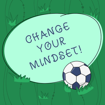 Handwriting text writing Change Your Mindset. Concept meaning fixed mental attitude or disposition demonstrating responses Soccer Ball on the Grass and Blank Outlined Round Color Shape photo