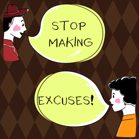 Word writing text Stop Making Excuses. Business concept for do not explanation for something that went wrong Hand Drawn Man and Wo analysis Talking photo with Blank Color Speech Bubble