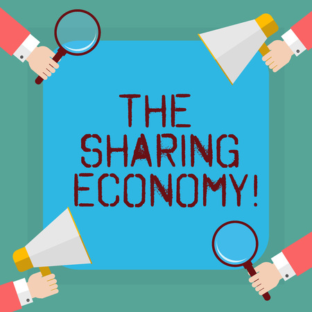Conceptual hand writing showing The Sharing Economy. Business photo showcasing systems assets or services shared between individuals Hu analysis Hands Holding Magnifying Glass and Megaphone 版權商用圖片