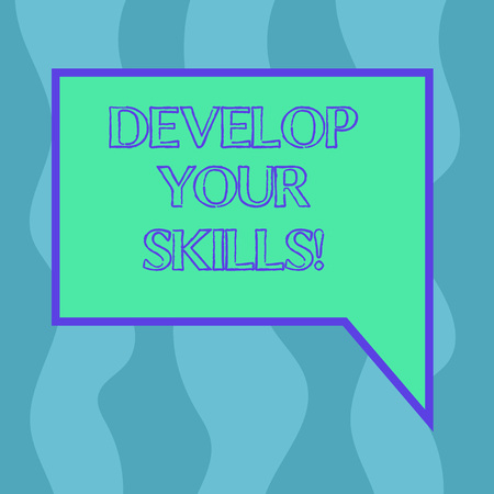 Conceptual hand writing showing Develop Your Skills. Business photo showcasing improve ability to do something well over time Blank Deformed Color Round Shape with Small Circles