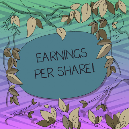 Conceptual hand writing showing Earnings Per Share. Business photo text portion of company profit allocated to each holder Tree Branches Scattered with Leaves Blank Color Text Space 写真素材