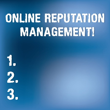 Text sign showing Online Reputation Management. Conceptual photo taking control of the online conversation Blurry Light Flashing Glaring on Blank Blue Hazy Space for Poster Wallpaper Stock Photo