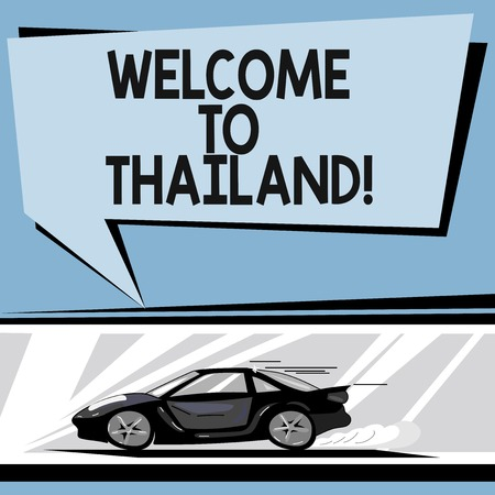 Writing note showing Welcome To Thailand. Business photo showcasing inviting showing or tourist to visit your home country Car with Fast Movement icon and Exhaust Smoke Speech Bubble