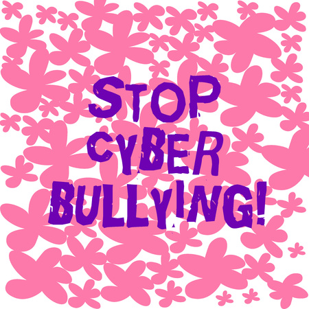 Text sign showing Stop Cyber Bullying. Conceptual photo prevent use of electronic communication bully demonstrating Freehand Drawn and Painted Simple Flower in Seamless Repeat Pattern photo Stock Photo