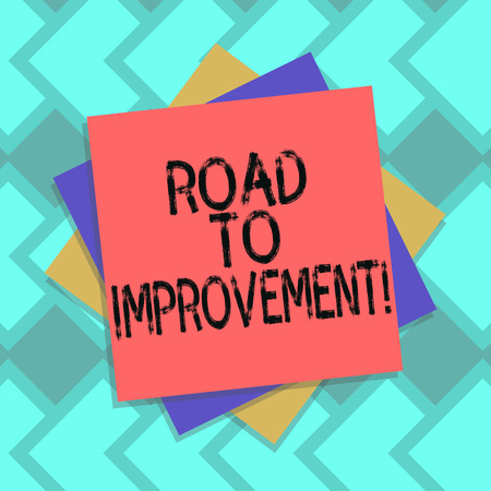 Text sign showing Road To Improvement. Conceptual photo way that thing makes something better or yourself Multiple Layer of Blank Sheets Color Paper Cardboard photo with Shadow 免版税图像
