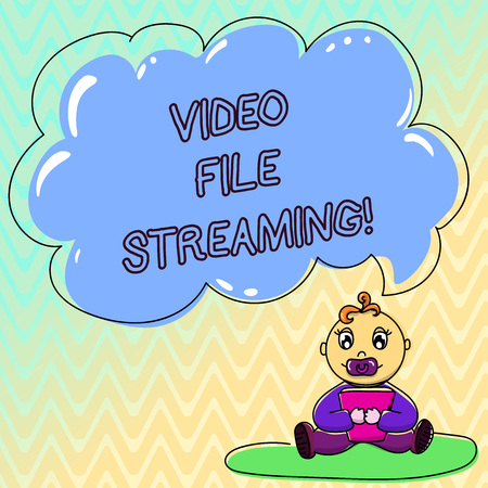 Handwriting text Video File Streaming. Concept meaning video be viewed online without being downloaded Baby Sitting on Rug with Pacifier Book and Blank Color Cloud Speech Bubble