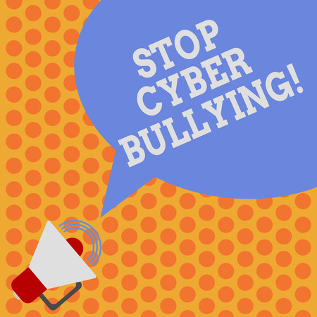 Writing note showing Stop Cyber Bullying. Business photo showcasing prevent use of electronic communication bully demonstrating Megaphone with Sound Volume Icon and Blank Color Speech Bubble photo Stock Photo
