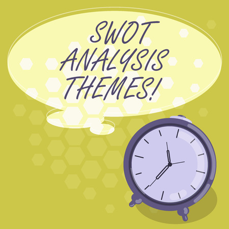 Conceptual hand writing showing Swot Analysis Themes. Business photo showcasing Subject matter to undergo comprehensive analysis Color Thought Speech Bubble with Outline and Alarm Clock