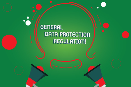 Text sign showing General Data Protection Regulation. Conceptual photo Information media security protective Two Megaphone and Circular Outline with Small Circles on Color Background Фото со стока