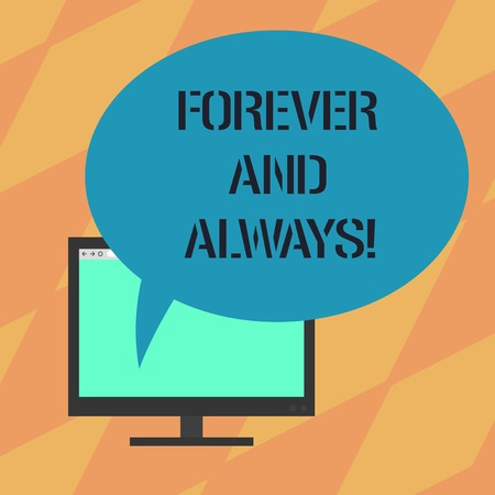 Text sign showing Forever And Always. Conceptual photo means continuously at all relevant times and still Mounted Computer Monitor Blank Screen with Oval Color Speech Bubble Reklamní fotografie