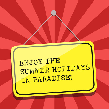 Conceptual hand writing showing Enjoy The Summer Holidays In Paradise. Business photo showcasing Go beautiful places in holiday season Blank Hanging Color Door Window Signage with String and Tack Foto de archivo