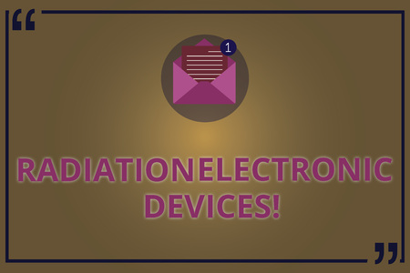 Writing note showing Radiation Electronic Devices. Business photo showcasing radio frequency emitted by electronic devices Open Envelope with Paper Email Message inside Quotation Mark