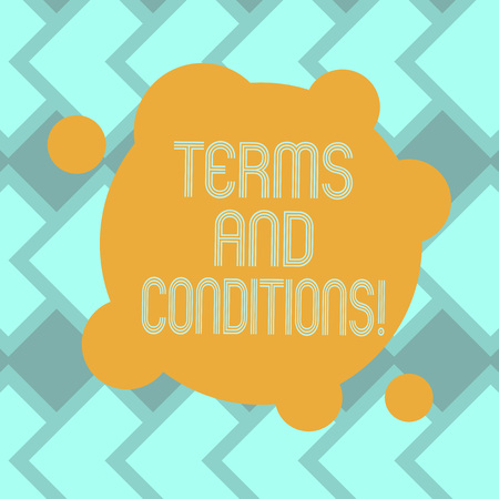 Text sign showing Terms And Conditions. Conceptual photo detail the rules that apply to bear a certain contract Blank Deformed Color Round Shape with Small Circles Abstract photo
