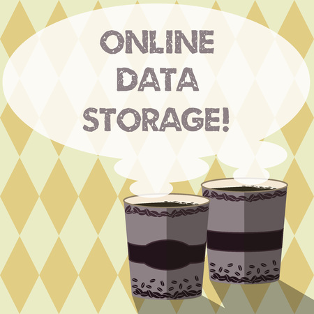 Word writing text Online Data Storage. Business concept for store with third party service accessed via Internet Two To Go Cup with Beverage and Steam icon Blank Speech Bubble photo Stock fotó