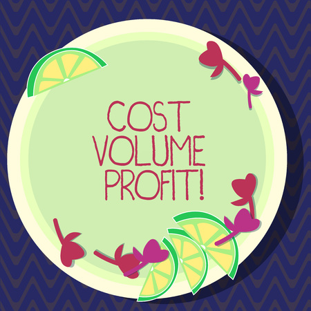 Text sign showing Cost Volume Profit. Conceptual photo form of cost accounting and It is simplified model Cutouts of Sliced Lime Wedge and Herb Leaves on Blank Round Color Plate